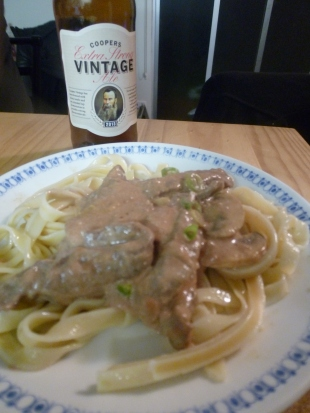 Beef Stroganoff and Coopers Extra Strong VIntage 2013