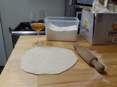 Making dough and drinking beer