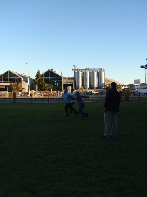 Taking a break from the sales conference and playing footy across from the brewery (2010)