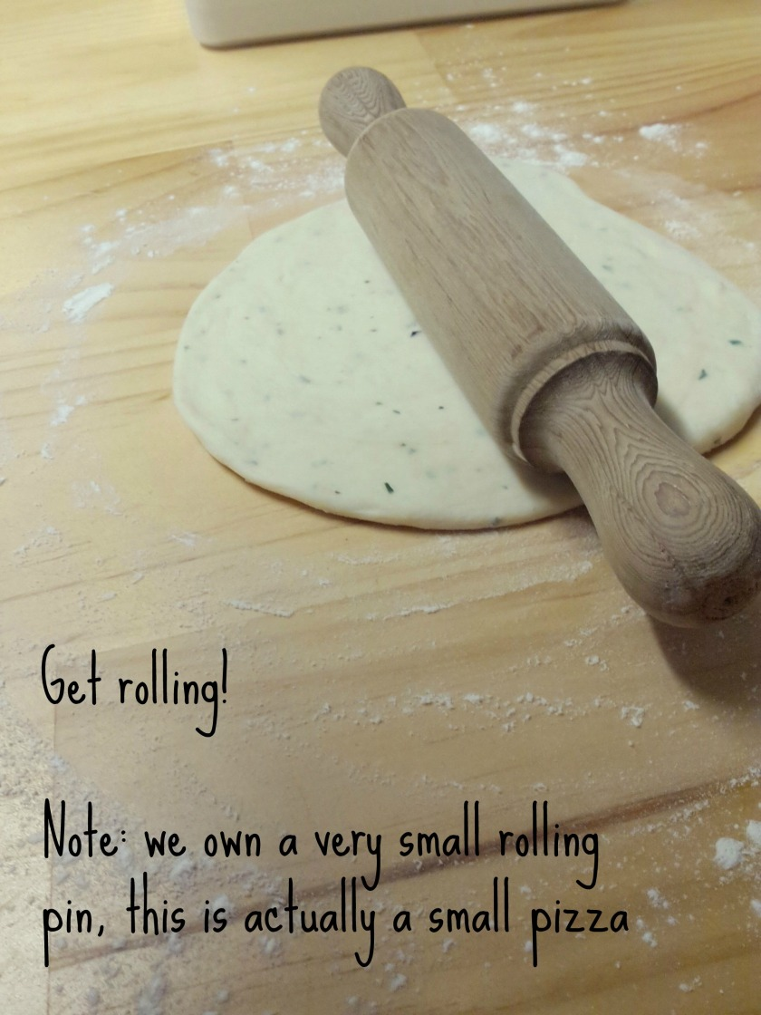 Rolling out pizza dough