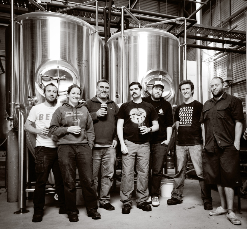 SW collaboration brew 2013 L-R: Justin Fox, Sorcha Gillen, Jeremy Good, Alex Poulsen, Jared Proudfoot, Nick d'Espeissis and Shannon Grigg Photo Courtesy of Jessica Shaver