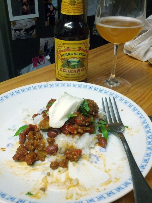 Chilli con carne with Sierra Nevada Kellerweis