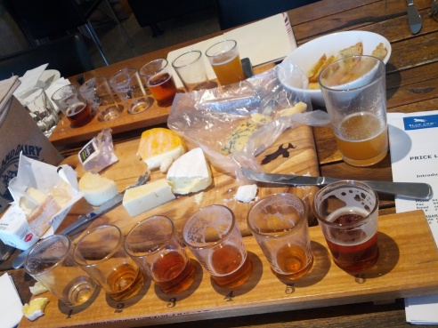 Conducting some beer and cheese research with Margi at Eagle Bay Brewing