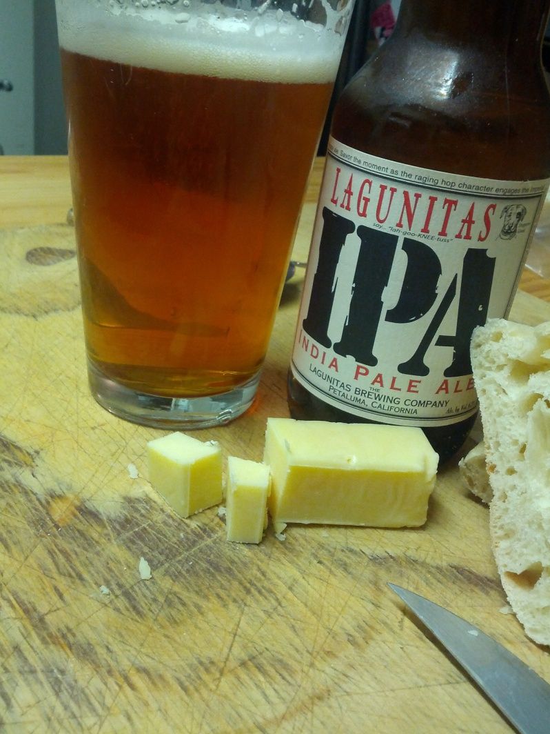 Trying Lagunitas IPA and Maffra Cheddar, not a bad match but perhaps too many hops for the cheddar to handle
