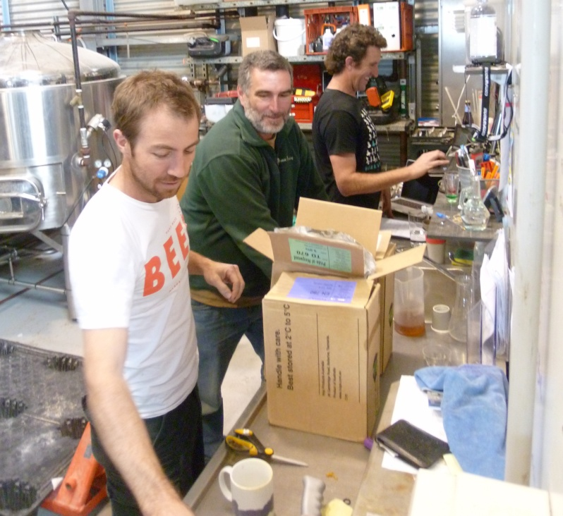 Justin (Colonial), Jeremy (Cowaramup) and Nick (Eagle Bay) weighing out hops