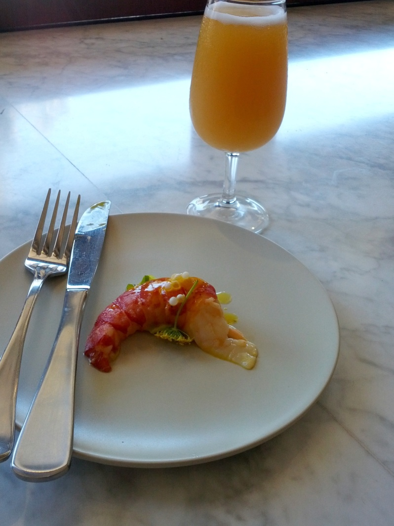 Wort Poached Marron, Pickled Cucumber and Beer Blanc Sauce by Mitch from Beersine / Five Bar