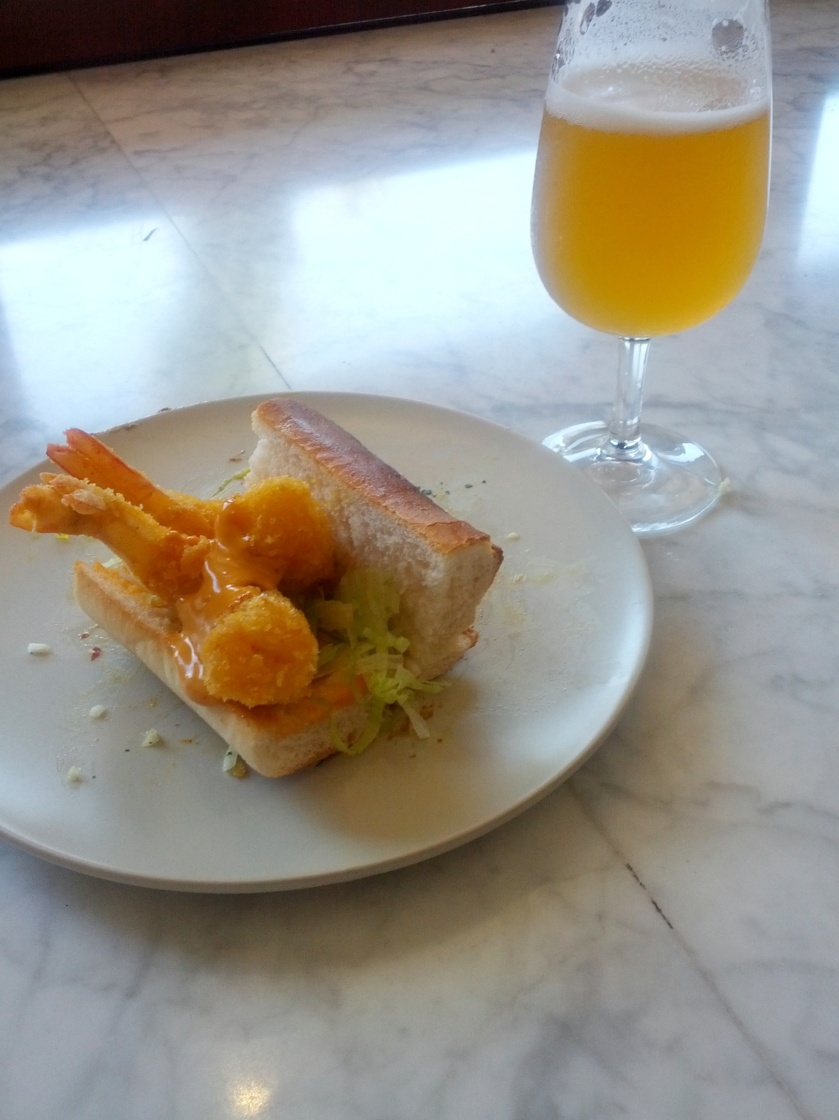 Prawn Po'Boy with Chipolte Aioli, Vic Secret Hop Salt and Malt Vinegar Game Chips by Julia from Josie Bones