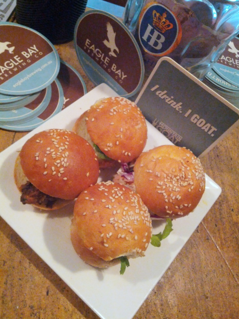 Four little sliders, perfect for beer!