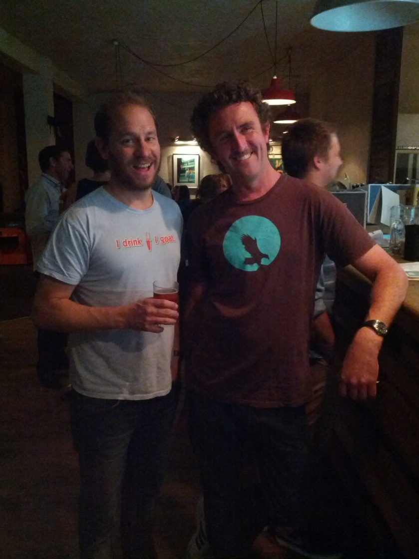 Brewers Unite! Dave from Mountain Goat and Nick from Eagle Bay kindly indulging my request for a photo
