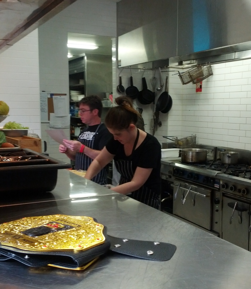 Hard working chefs Mitch from Beersine/Five Bar and Julia from Josie Bones