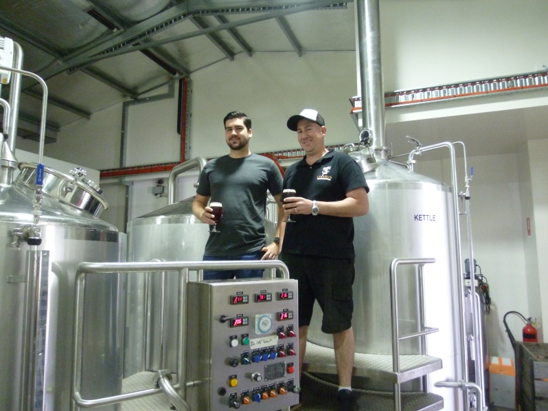 L: Alex, head brewer R: Ross, assistant brewer At Cheeky Monkey Brewhouse