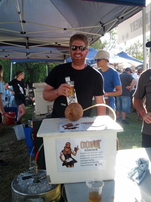 Ryan happily sampling Coconut Hefeweizen