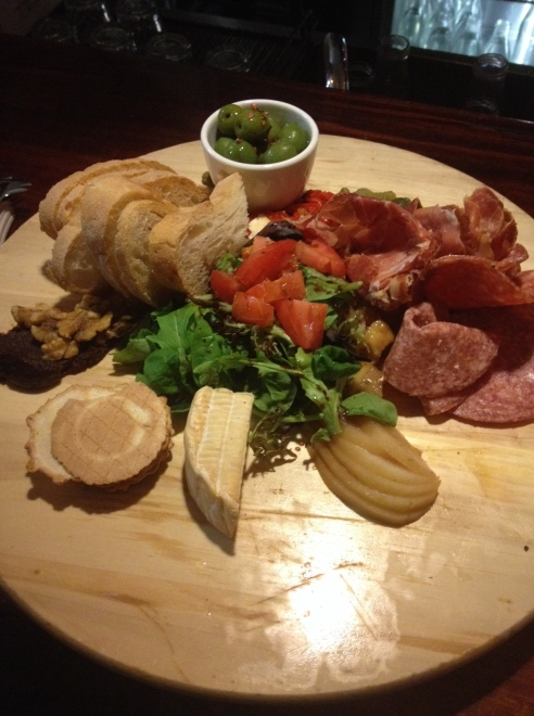 One of the tasty boards at Five Bar - cheese, meat, bread, olives and other tasty items to keep this girl happy