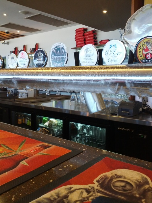 Beer taps at The Goose