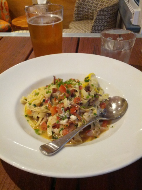 Fettuccine with blue swimmer crab, tomato, lemon, herbs and butter sauce