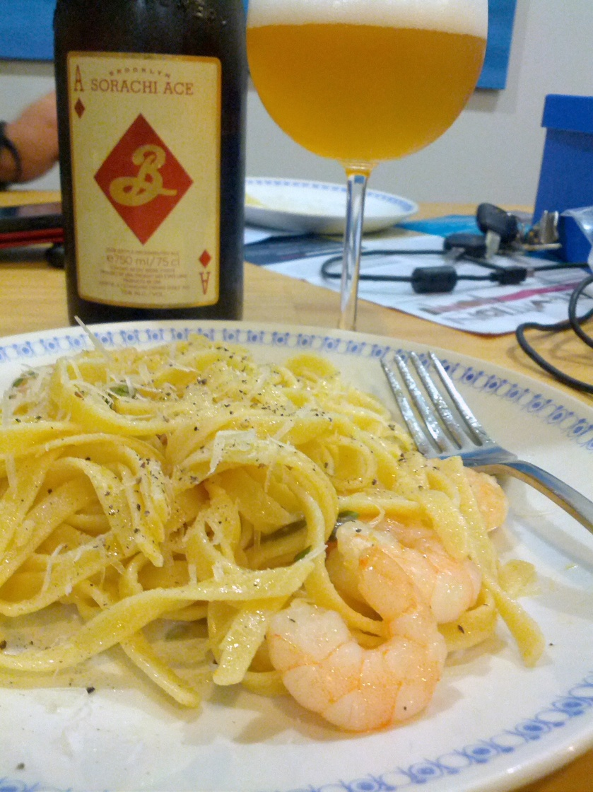 Brooklyn Sorachi Ace with Prawn and Chilli Linguine