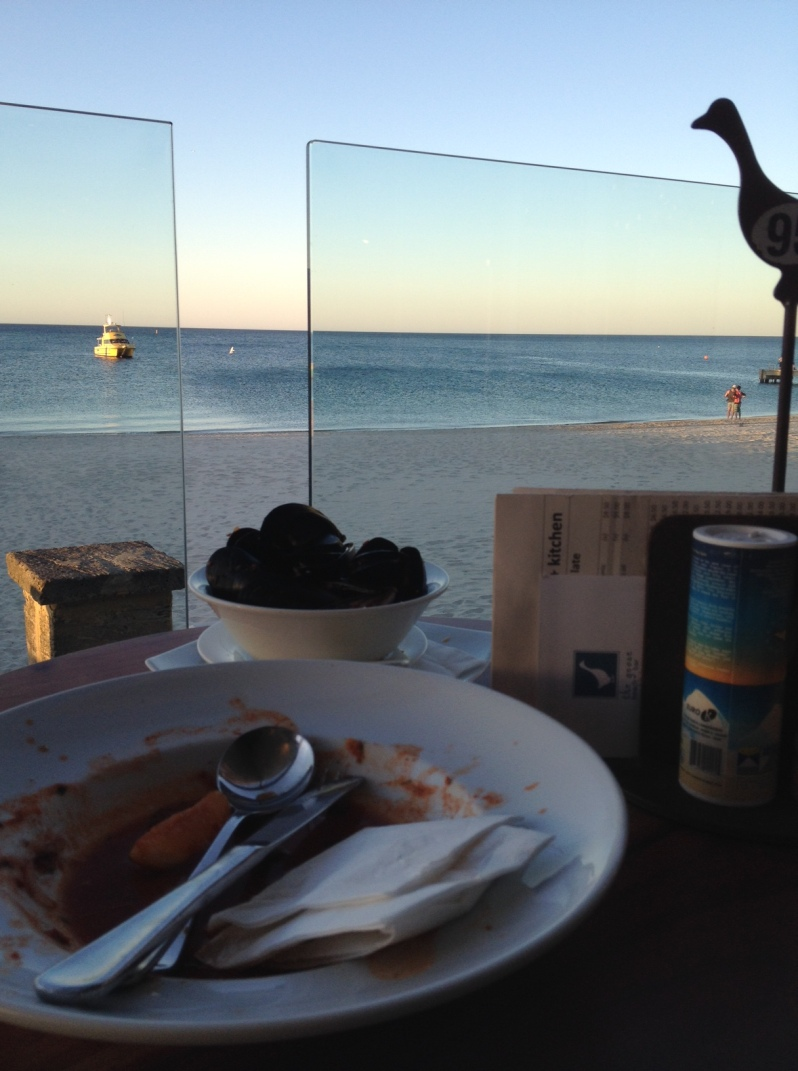 Steamed mussels with an unbeatable view