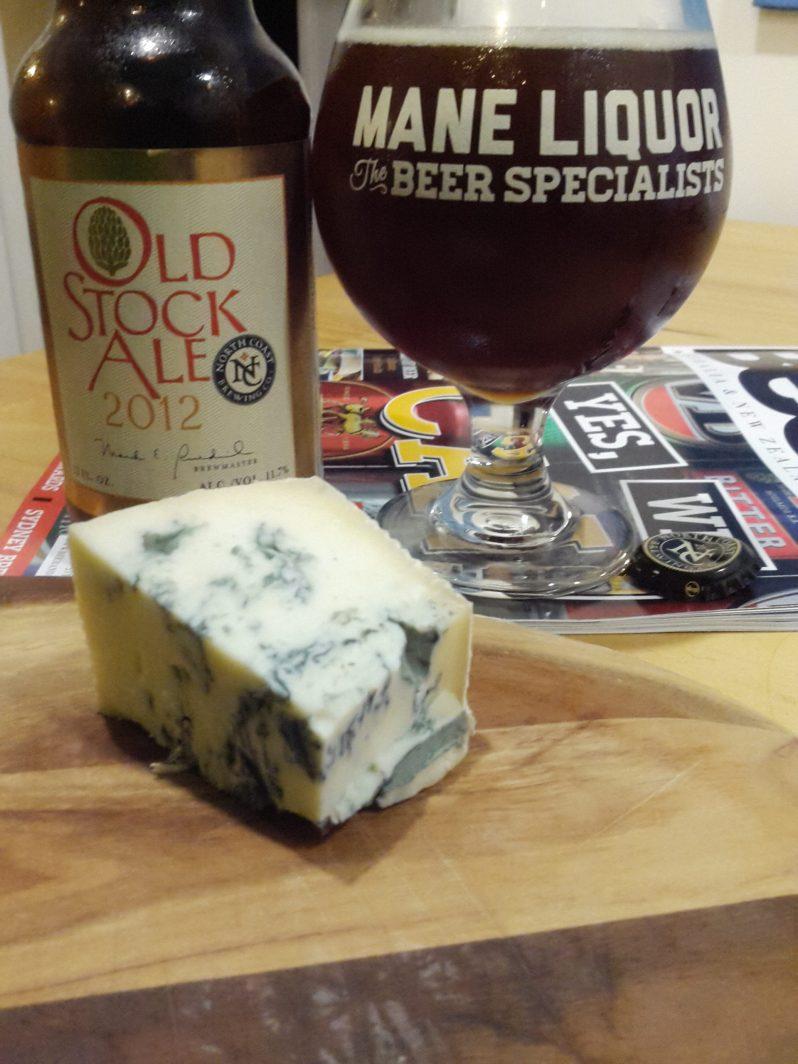 North Coast Old Stock Ale and Gorgonzola