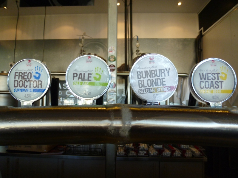 A few of the taps at Mash Bunbury (please note this photo is from 2012)