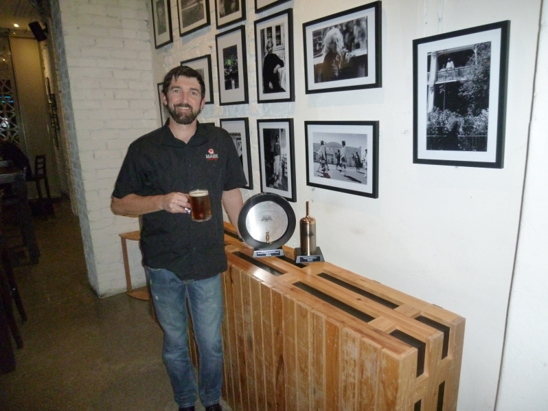 Charlie with the AIBA trophies at Mash's tap takeover at Five