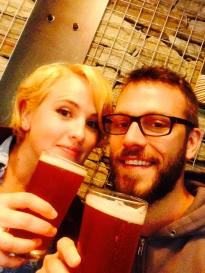 Wendy and her husband Matt enjoying a beer together