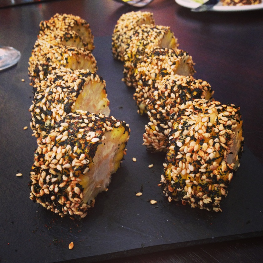 Corn, smoked pork fat, sesame & seaweed