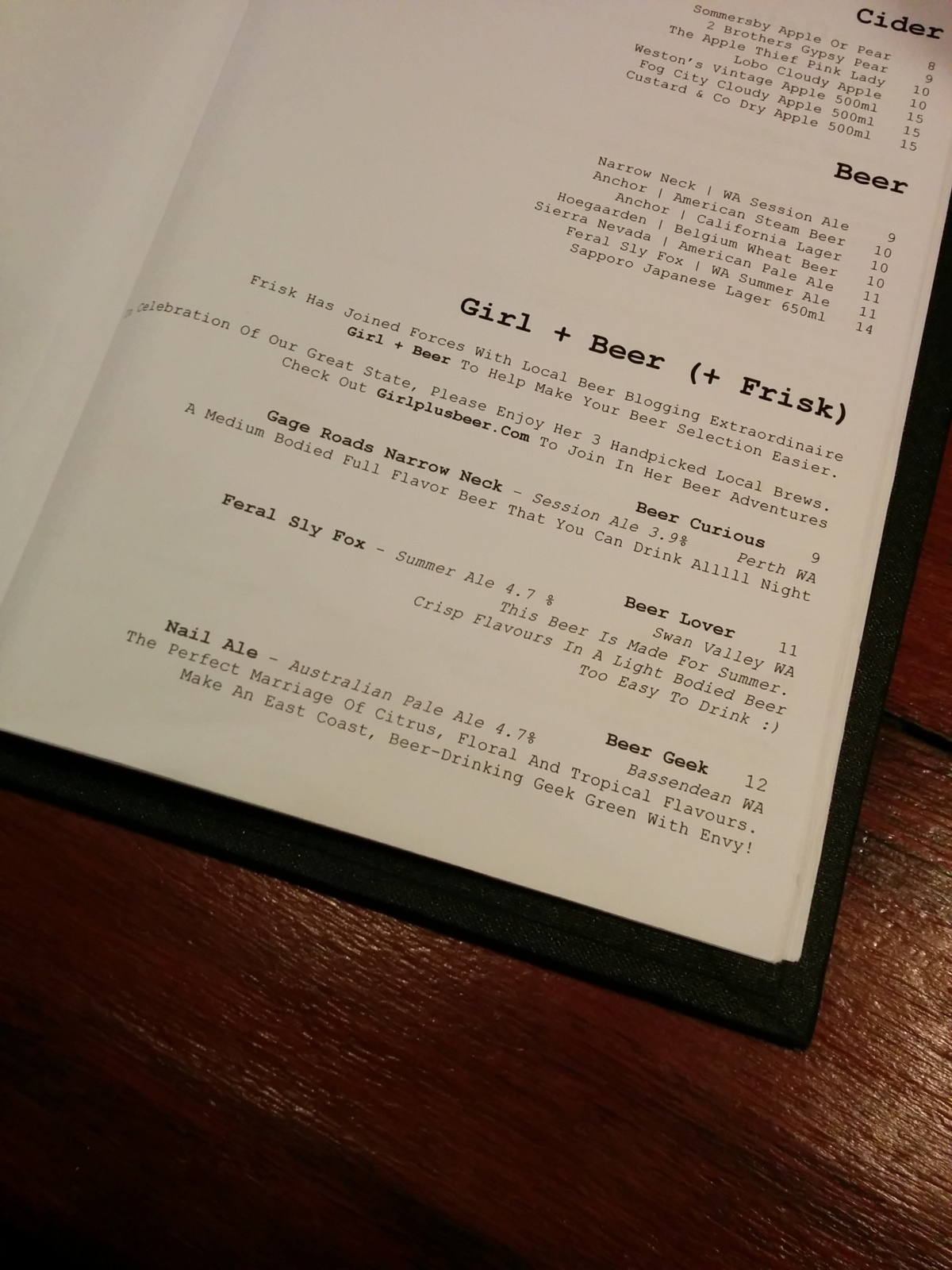 A few words on beerlists