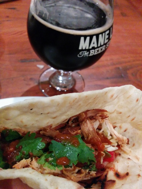 Chicken tortillas and Eagle Bay Black IPA