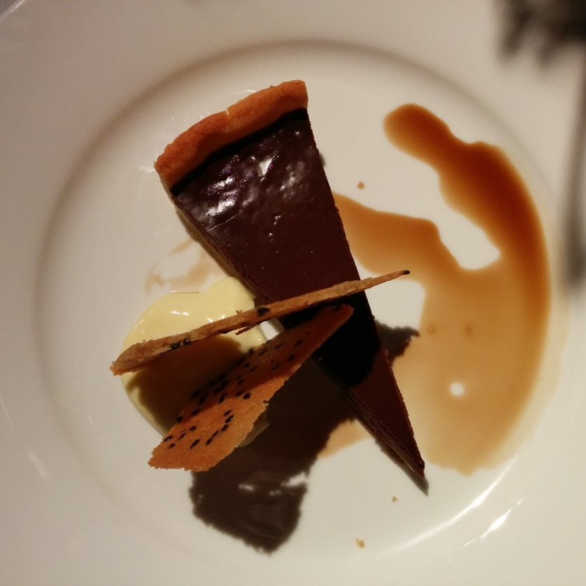 French chocolate tart with Coopers Stout wafer