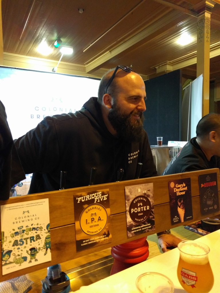 Paul at the Colonial Brewing Co. stand at this years GABS Festival, Melbourne