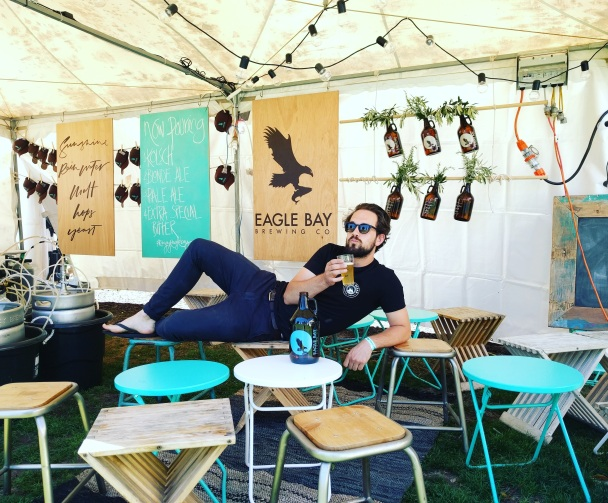 Jack striking a pose at the Eagle Bay tent at last years Fremantle Beer Fest